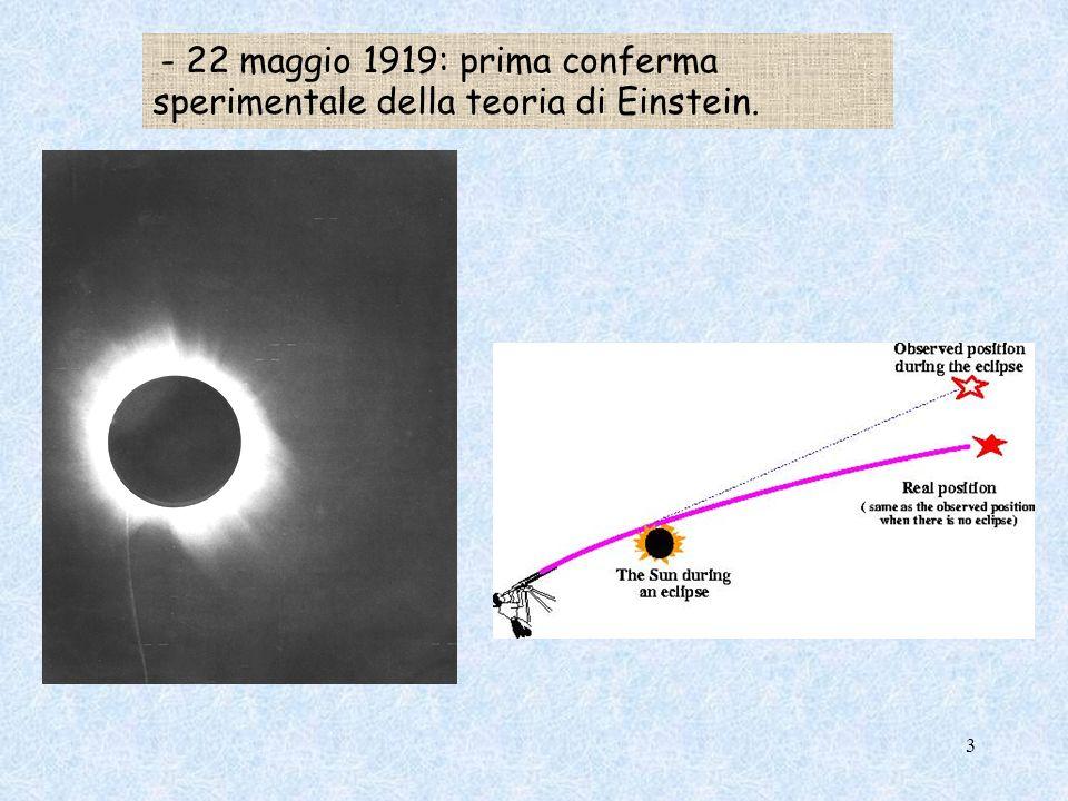 - 22 maggio 1919: prima conferma sperimentale della teoria di Einstein. 3