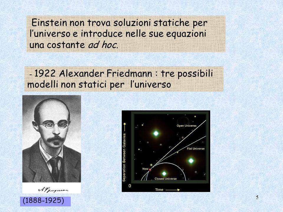 - 1922 Alexander Friedmann : tre possibili modelli non statici per luniverso Einstein non trova soluzioni statiche per luniverso e introduce nelle sue