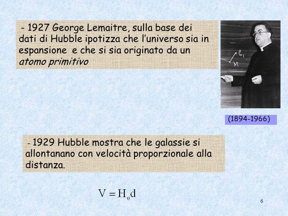 - 1927 George Lemaitre, sulla base dei dati di Hubble ipotizza che luniverso sia in espansione e che si sia originato da un atomo primitivo - 1929 Hub