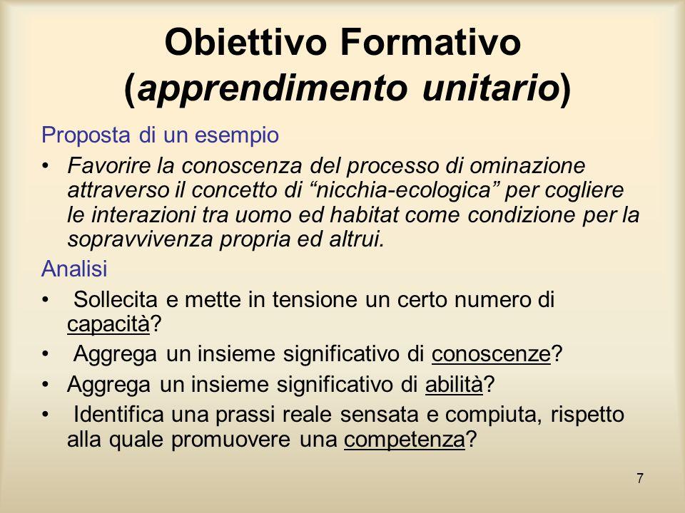 7 Obiettivo Formativo (apprendimento unitario) Proposta di un esempio Favorire la conoscenza del processo di ominazione attraverso il concetto di nicc