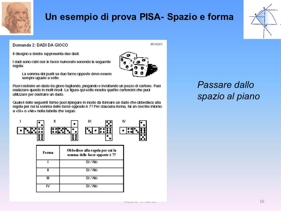 Autore: R. Garuti16 Un esempio di prova PISA- Spazio e forma Passare dallo spazio al piano