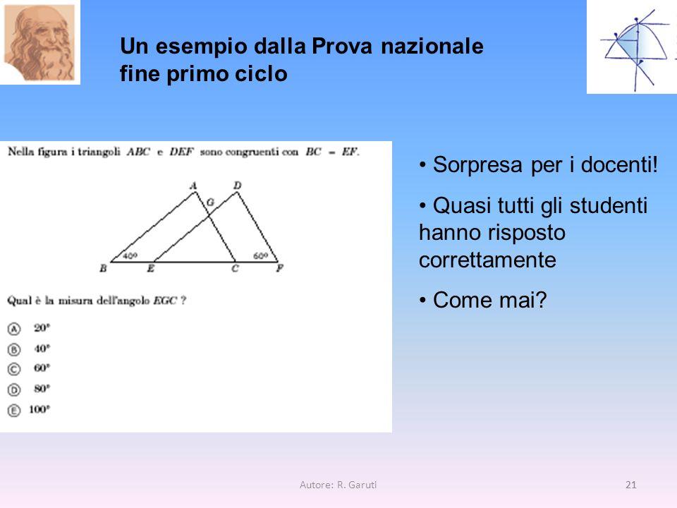 Autore: R.Garuti21 Un esempio dalla Prova nazionale fine primo ciclo Sorpresa per i docenti.
