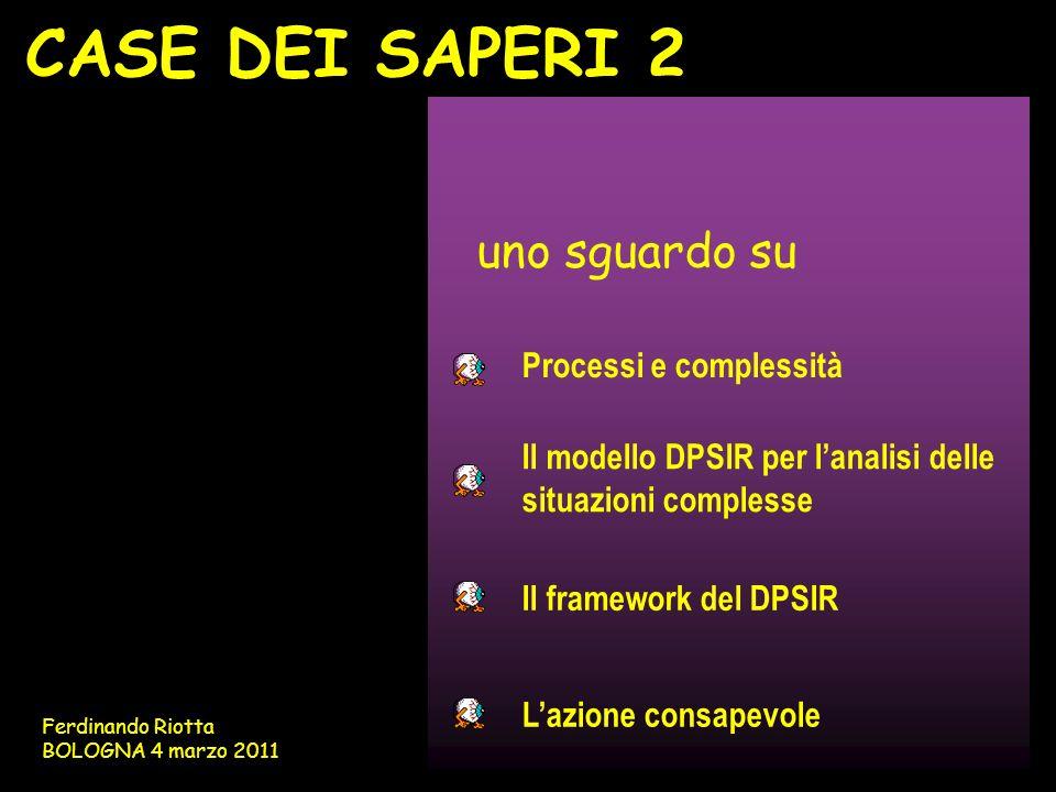 CASE DEI SAPERI 2 uno sguardo su Il modello DPSIR per lanalisi delle situazioni complesse Processi e complessità Il framework del DPSIR Lazione consap