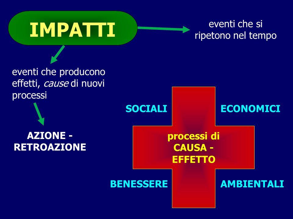 BENESSERE processi di CAUSA - EFFETTO SOCIALIECONOMICI eventi che si ripetono nel tempo AMBIENTALI eventi che producono effetti, cause di nuovi proces