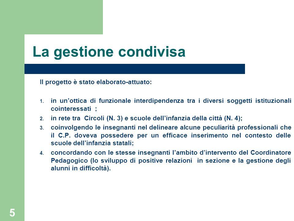5 La gestione condivisa Il progetto è stato elaborato-attuato: 1. in unottica di funzionale interdipendenza tra i diversi soggetti istituzionali coint