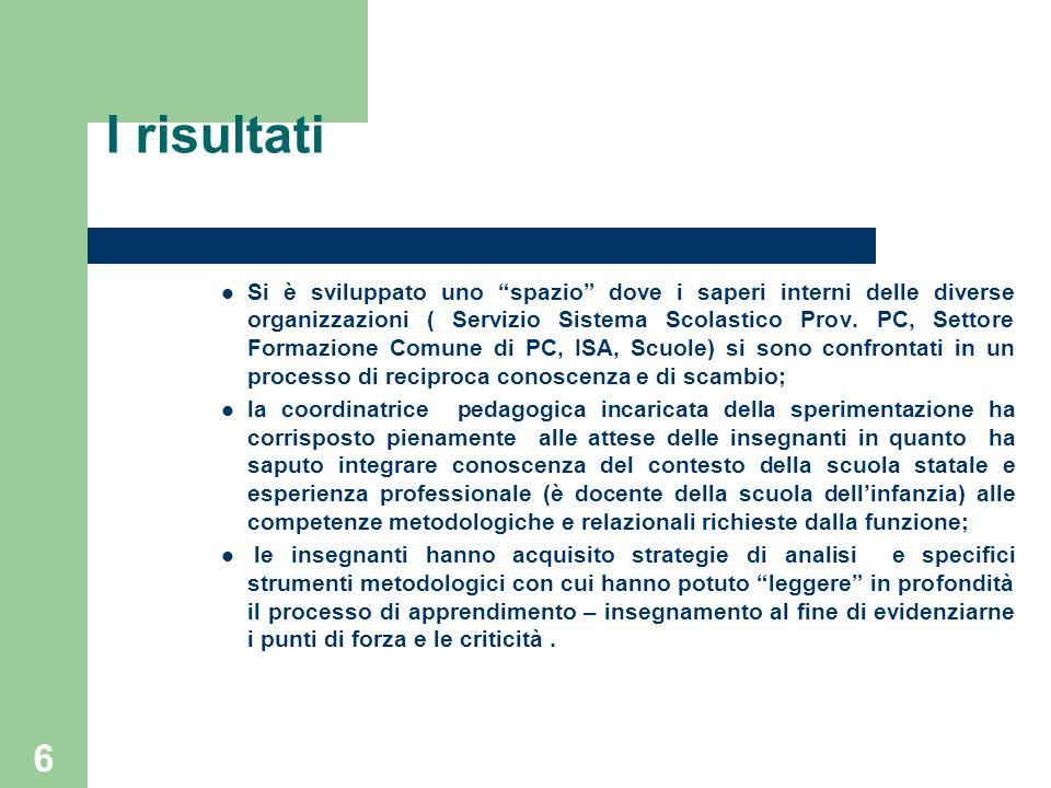6 I risultati Si è sviluppato uno spazio dove i saperi interni delle diverse organizzazioni ( Servizio Sistema Scolastico Prov. PC, Settore Formazione