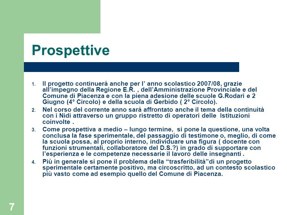 7 Prospettive 1. Il progetto continuerà anche per l anno scolastico 2007/08, grazie allimpegno della Regione E.R., dellAmministrazione Provinciale e d
