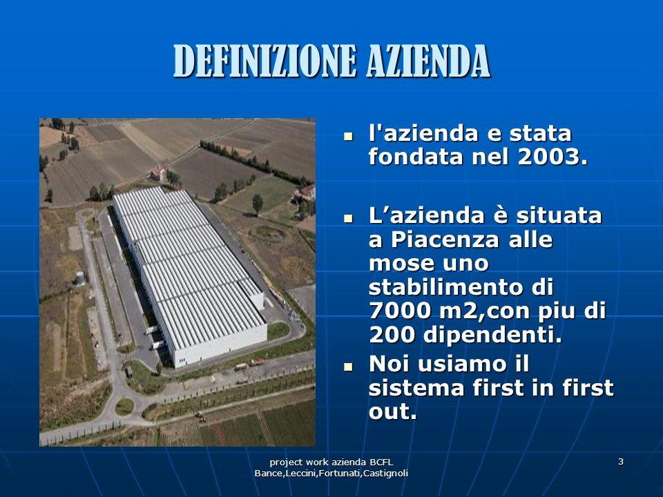 project work azienda BCFL Bance,Leccini,Fortunati,Castignoli 3 DEFINIZIONE AZIENDA l'azienda e stata fondata nel 2003. l'azienda e stata fondata nel 2
