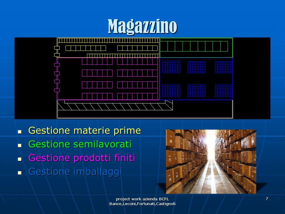 project work azienda BCFL Bance,Leccini,Fortunati,Castignoli 7 Magazzino Gestione materie prime Gestione materie prime Gestione semilavorati Gestione
