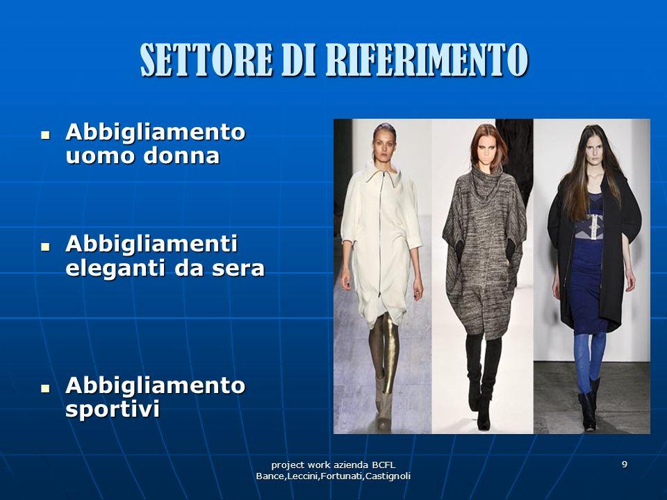 project work azienda BCFL Bance,Leccini,Fortunati,Castignoli 9 SETTORE DI RIFERIMENTO Abbigliamento uomo donna Abbigliamento uomo donna Abbigliamenti