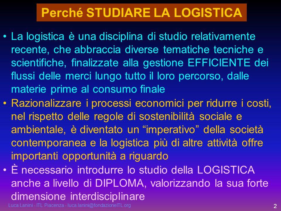 Luca Lanini - ITL Piacenza - luca.lanini@fondazioneITL.org 2 Perché STUDIARE LA LOGISTICA La logistica è una disciplina di studio relativamente recent