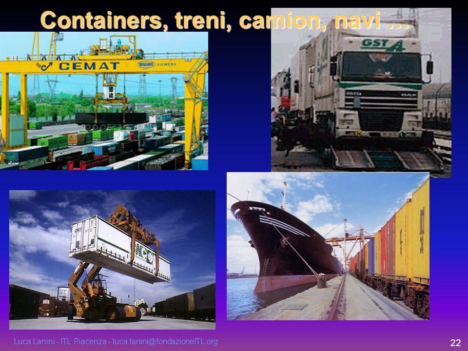 Luca Lanini - ITL Piacenza - luca.lanini@fondazioneITL.org 22 Containers, treni, camion, navi …