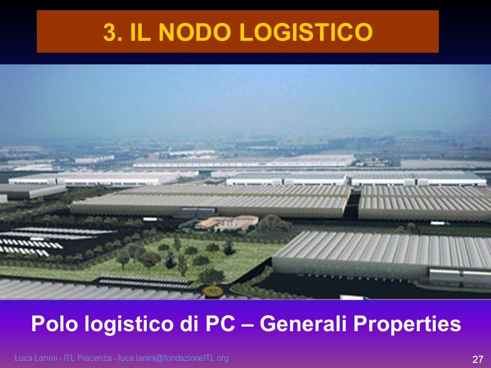 Luca Lanini - ITL Piacenza - luca.lanini@fondazioneITL.org 27 3. IL NODO LOGISTICO Polo logistico di PC – Generali Properties