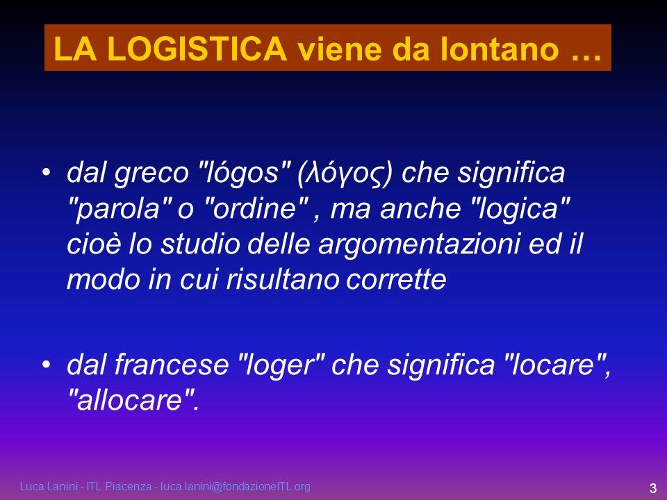 Luca Lanini - ITL Piacenza - luca.lanini@fondazioneITL.org 3 LA LOGISTICA viene da lontano … dal greco