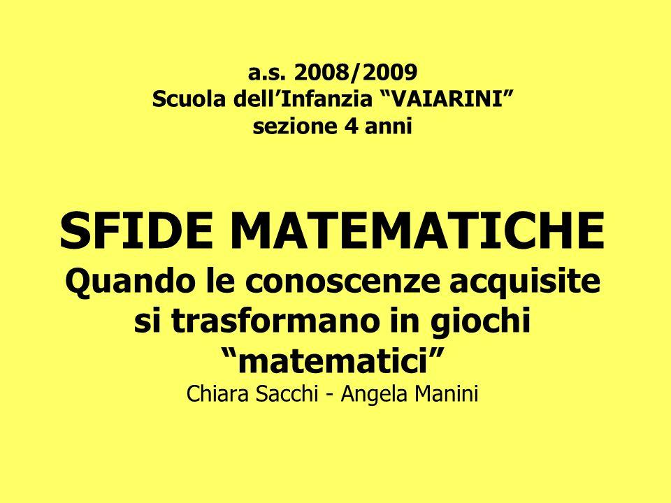 a.s. 2008/2009 Scuola dellInfanzia VAIARINI sezione 4 anni SFIDE MATEMATICHE Quando le conoscenze acquisite si trasformano in giochi matematici Chiara