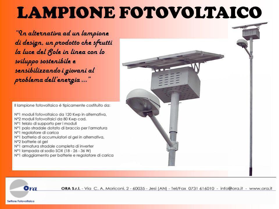 LAMPIONE FOTOVOLTAICO In alternativa ad un lampione di design, un prodotto che sfrutti la luce del Sole in linea con lo sviluppo sostenibile e sensibi
