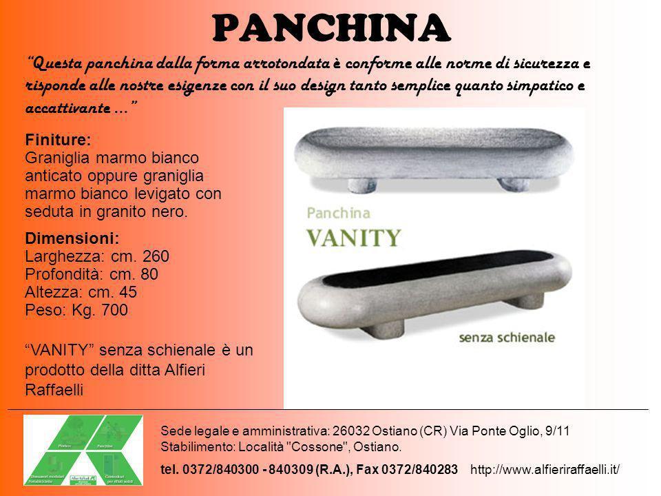 PANCHINA Finiture: Graniglia marmo bianco anticato oppure graniglia marmo bianco levigato con seduta in granito nero. Dimensioni: Larghezza: cm. 260 P