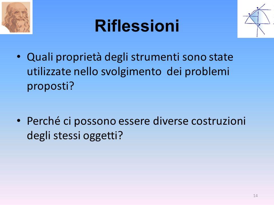 Riflessioni Quali proprietà degli strumenti sono state utilizzate nello svolgimento dei problemi proposti? Perché ci possono essere diverse costruzion