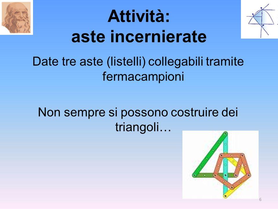 Attività: aste incernierate Date tre aste (listelli) collegabili tramite fermacampioni Non sempre si possono costruire dei triangoli… 6