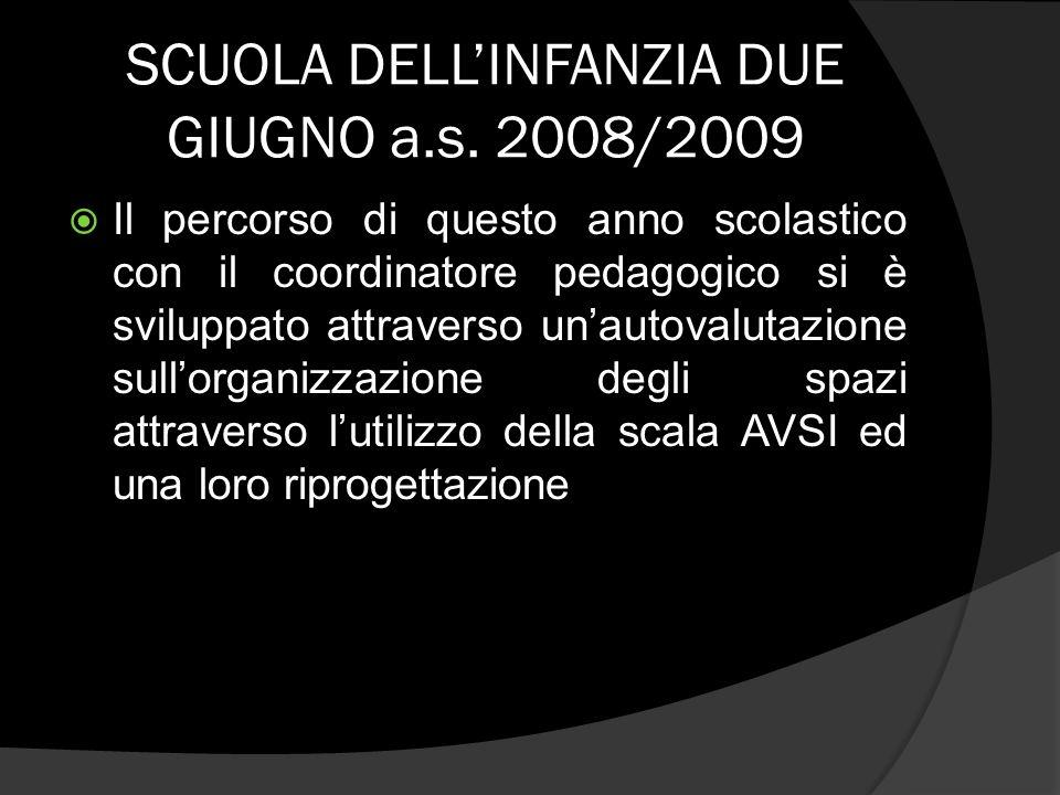 SCUOLA DELLINFANZIA DUE GIUGNO a.s. 2008/2009 Il percorso di questo anno scolastico con il coordinatore pedagogico si è sviluppato attraverso unautova