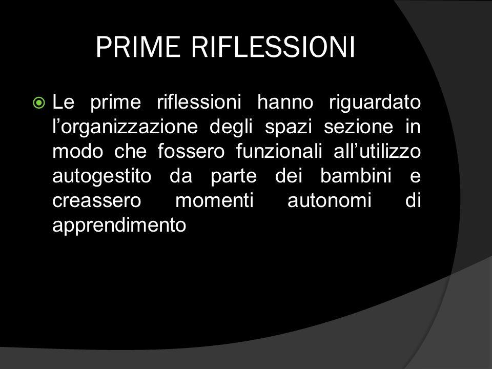 PRIME RIFLESSIONI Le prime riflessioni hanno riguardato lorganizzazione degli spazi sezione in modo che fossero funzionali allutilizzo autogestito da