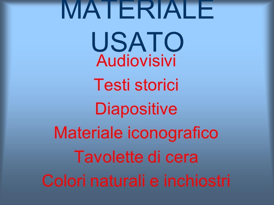 MATERIALE USATO Audiovisivi Testi storici Diapositive Materiale iconografico Tavolette di cera Colori naturali e inchiostri