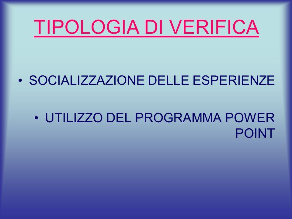 TIPOLOGIA DI VERIFICA SOCIALIZZAZIONE DELLE ESPERIENZE UTILIZZO DEL PROGRAMMA POWER POINT