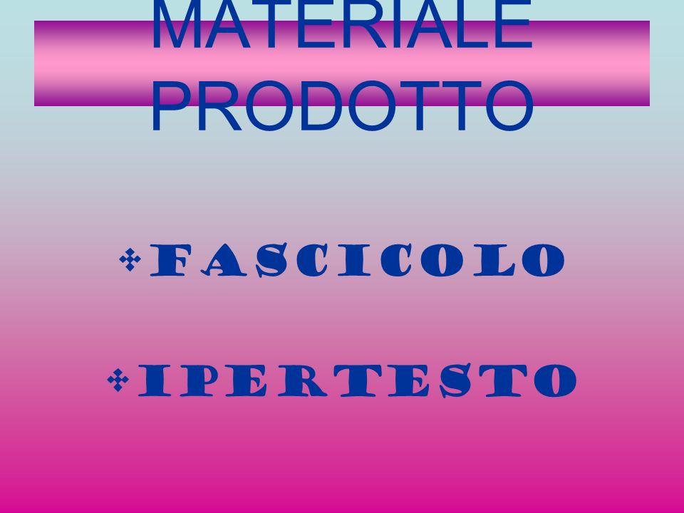 MATERIALE PRODOTTO FASCICOLO IPERTESTO