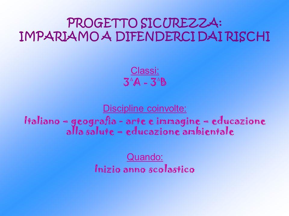 PROGETTO SICUREZZA: IMPARIAMO A DIFENDERCI DAI RISCHI Classi: 3 ^ A - 3 ^ B Discipline coinvolte: Italiano – geografia - arte e immagine – educazione
