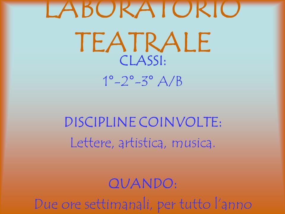 LABORATORIO TEATRALE CLASSI: 1°-2°-3° A/B DISCIPLINE COINVOLTE: Lettere, artistica, musica. QUANDO: Due ore settimanali, per tutto lanno scolastico