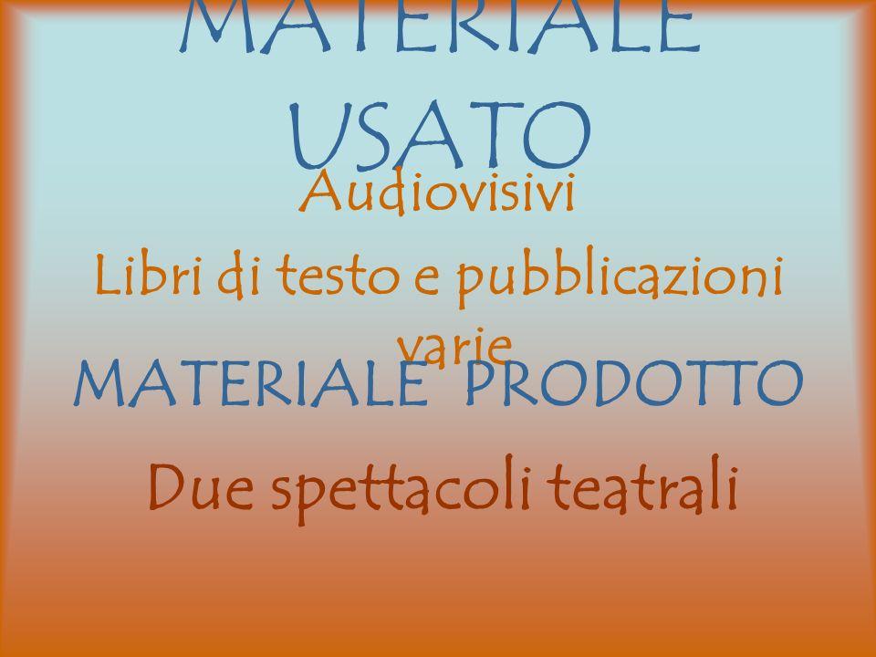 MATERIALE USATO Audiovisivi Libri di testo e pubblicazioni varie MATERIALE PRODOTTO Due spettacoli teatrali