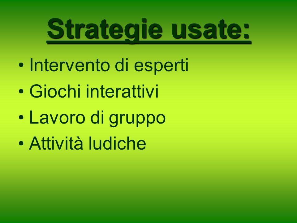 Strategie usate: Intervento di esperti Giochi interattivi Lavoro di gruppo Attività ludiche