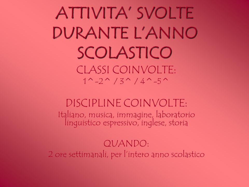 ATTIVITA SVOLTE DURANTE LANNO SCOLASTICO CLASSI COINVOLTE: 1^-2^ / 3^ / 4^-5^ DISCIPLINE COINVOLTE: Italiano, musica, immagine, laboratorio linguistic