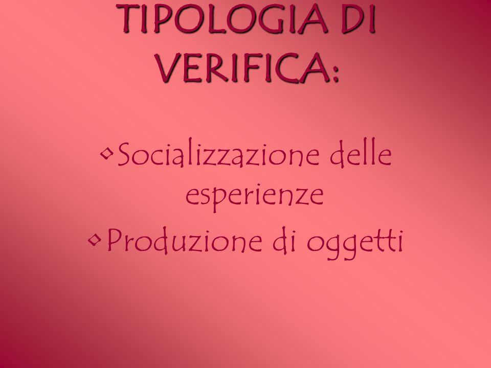 TIPOLOGIA DI VERIFICA: Socializzazione delle esperienze Produzione di oggetti