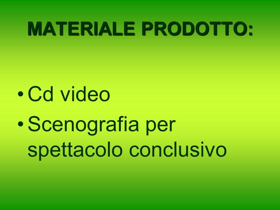 MATERIALE PRODOTTO: Cd video Scenografia per spettacolo conclusivo