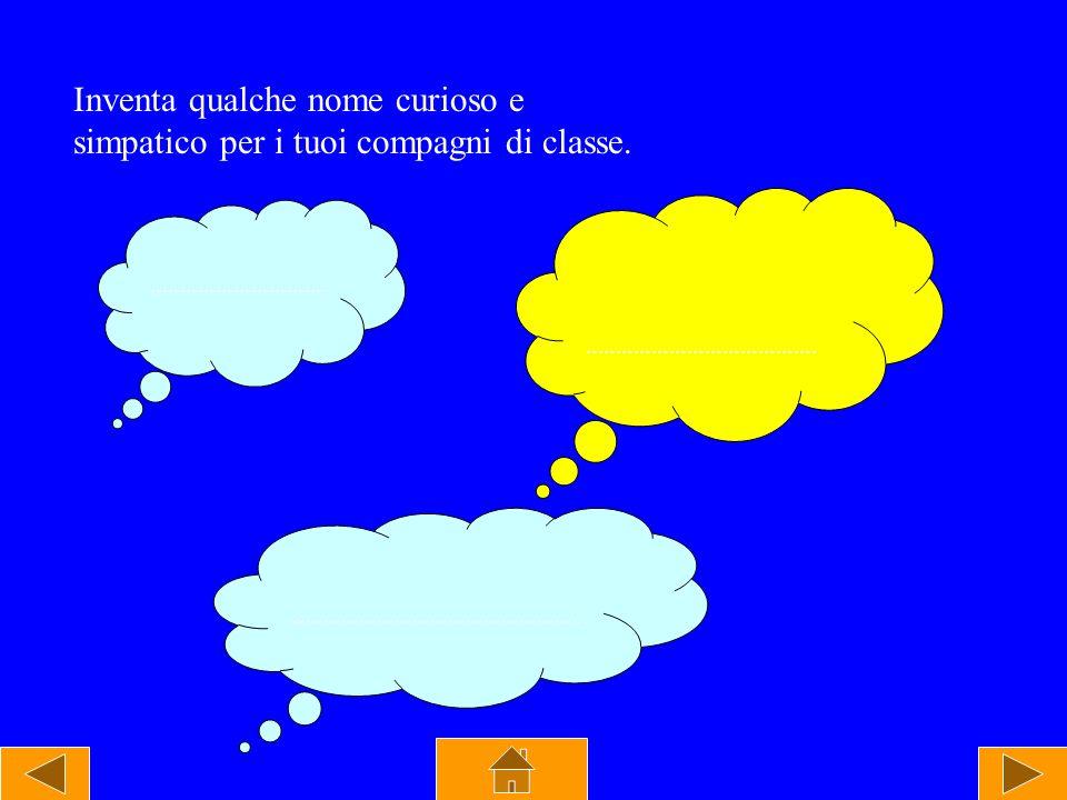 Inventa qualche nome curioso e simpatico per i tuoi compagni di classe. ………………………… ………………………………… ………………………………………….