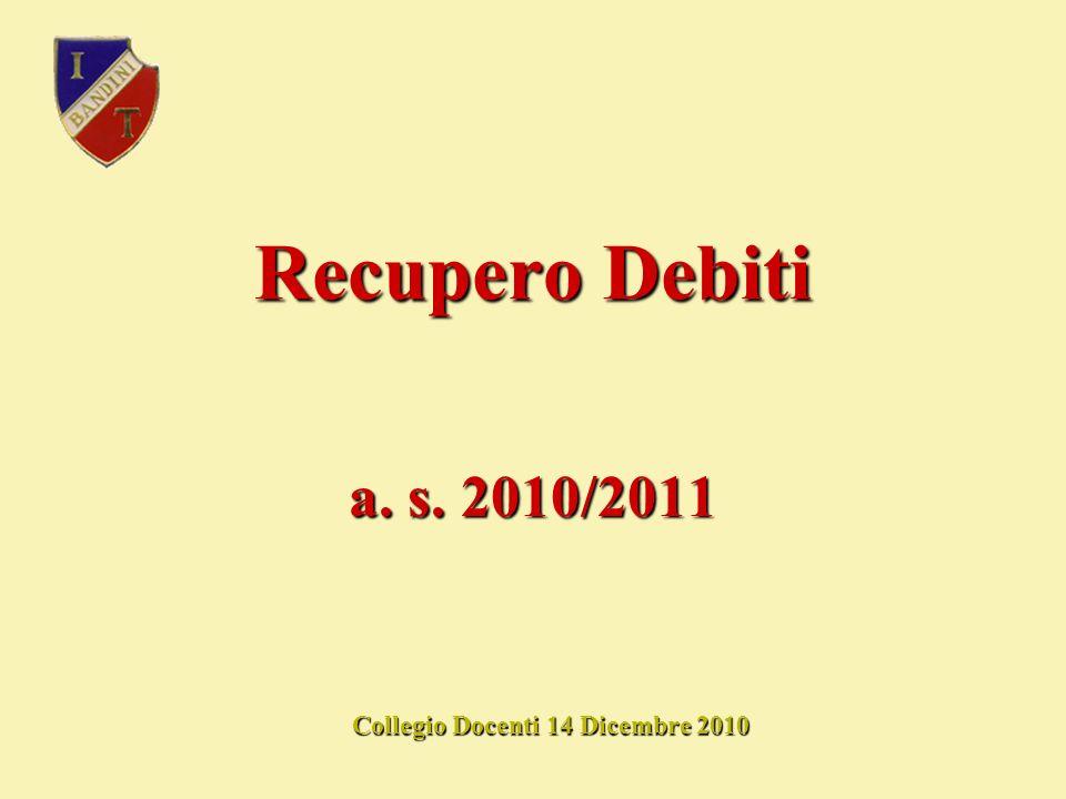 Recupero Debiti Collegio Docenti 14 Dicembre 2010 a. s. 2010/2011