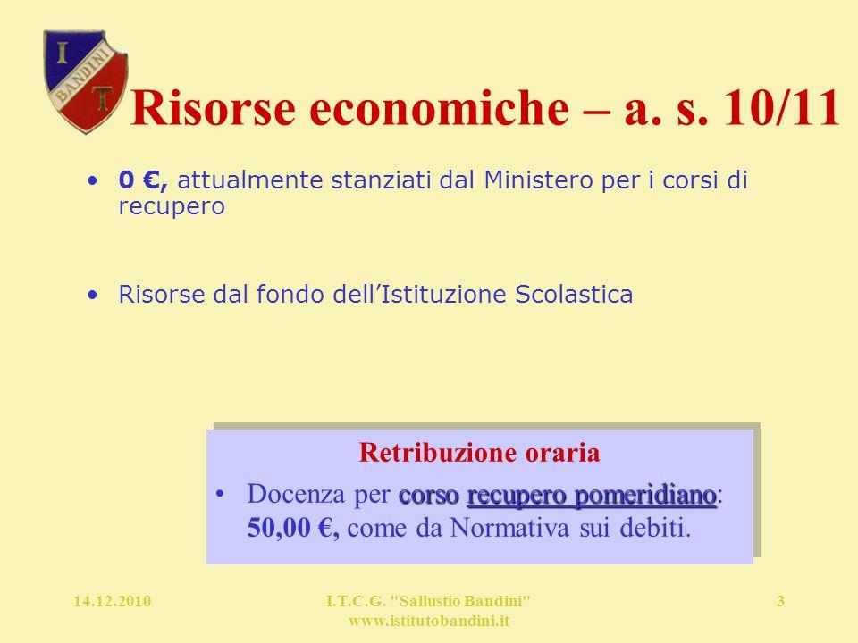 14.12.2010I.T.C.G. Sallustio Bandini www.istitutobandini.it 3 Risorse economiche – a.