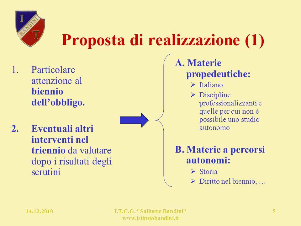 14.12.2010I.T.C.G. Sallustio Bandini www.istitutobandini.it 5 Proposta di realizzazione (1) A.
