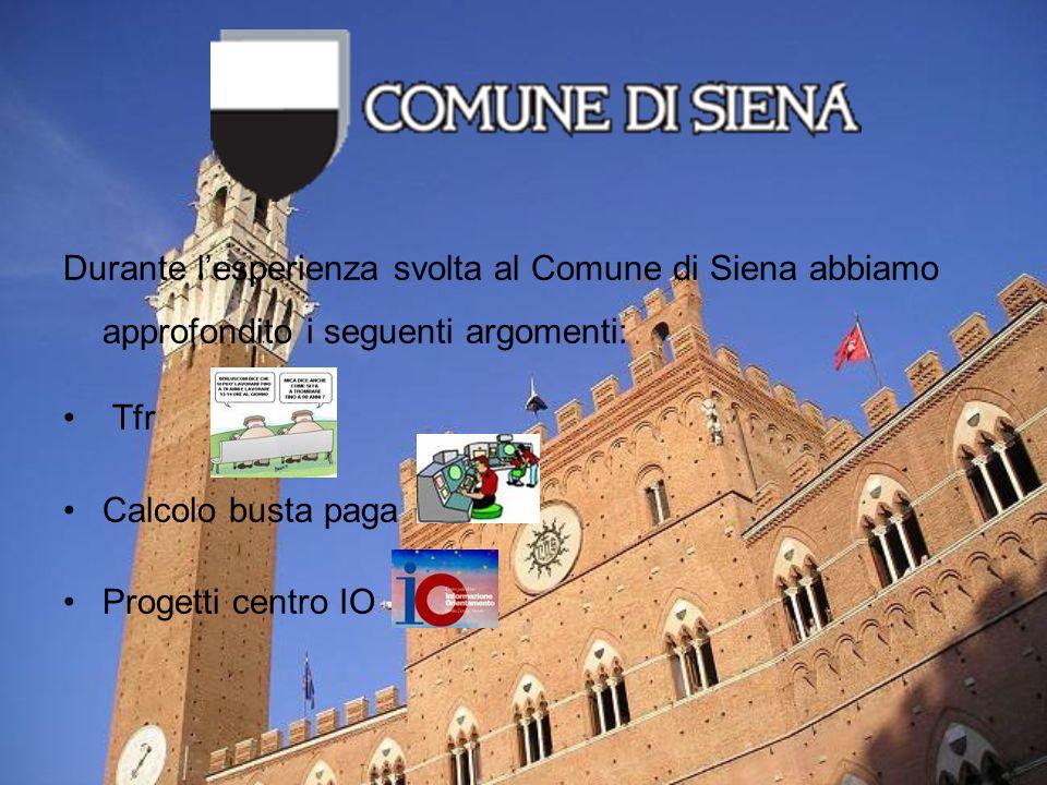 Durante lesperienza svolta al Comune di Siena abbiamo approfondito i seguenti argomenti: Tfr Calcolo busta paga Progetti centro IO