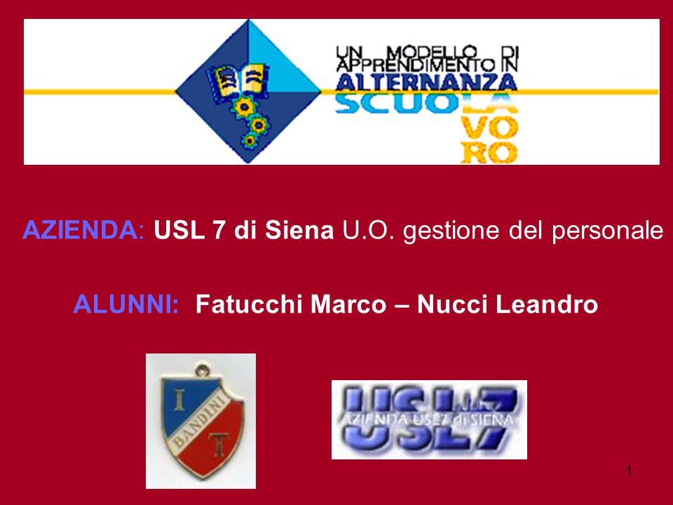 1 AZIENDA: USL 7 di Siena U.O. gestione del personale ALUNNI: Fatucchi Marco – Nucci Leandro