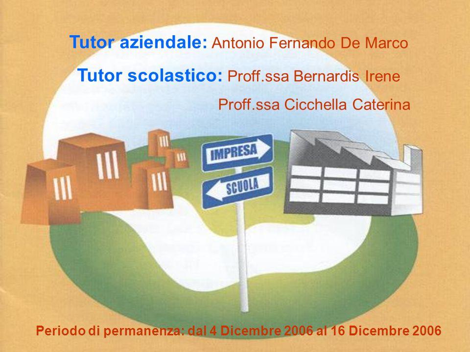 2 Tutor aziendale: Antonio Fernando De Marco Tutor scolastico: Proff.ssa Bernardis Irene Proff.ssa Cicchella Caterina Periodo di permanenza: dal 4 Dic