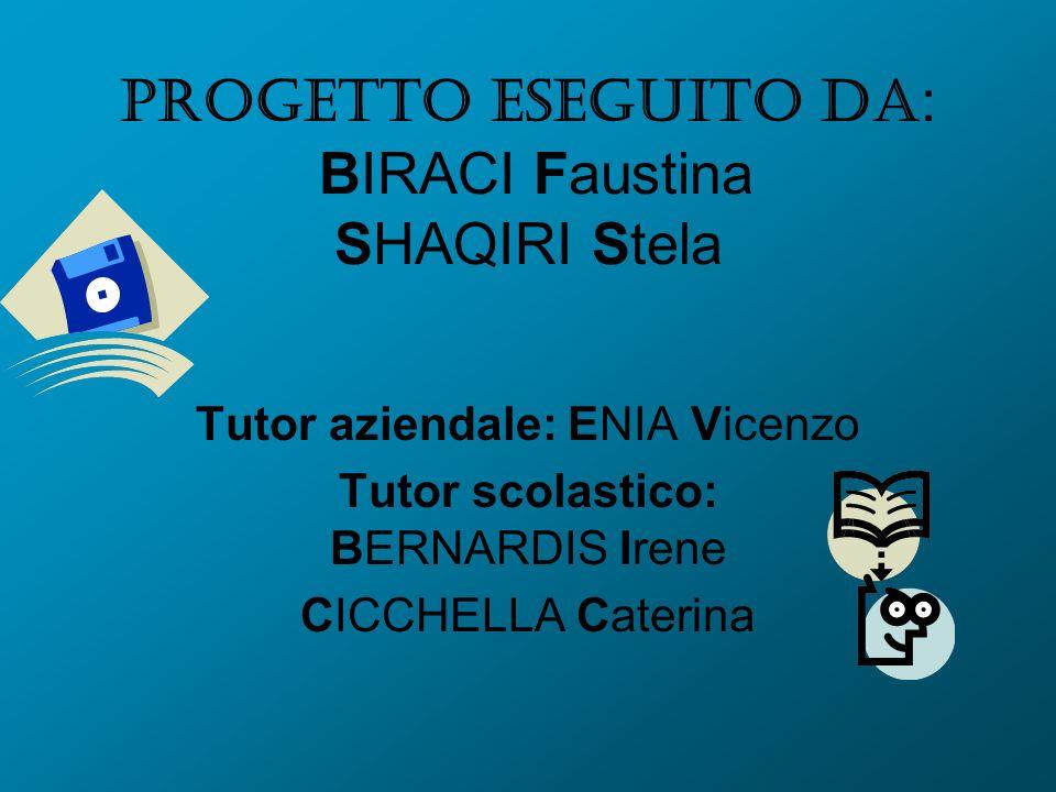 Progetto eseguito da : BIRACI Faustina SHAQIRI Stela Tutor aziendale: ENIA Vicenzo Tutor scolastico: BERNARDIS Irene CICCHELLA Caterina
