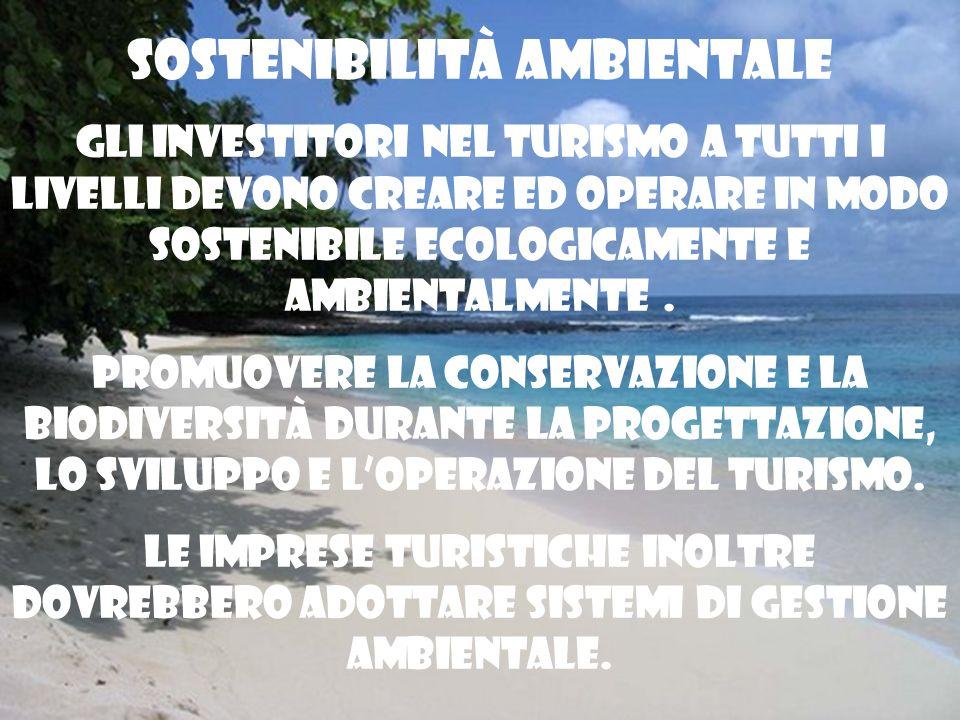 Sostenibilità ambientale Gli investitori nel turismo a tutti i livelli devono creare ed operare in modo sostenibile ecologicamente e ambientalmente. P