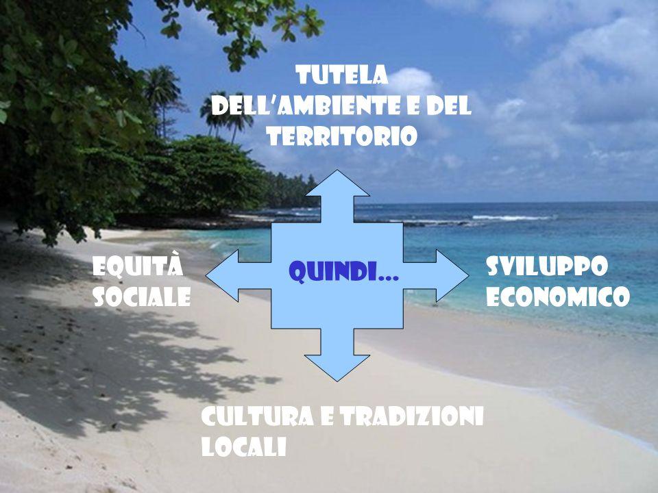 Quindi… Cultura e tradizioni locali Tutela dellambiente e del territorio Sviluppo economico Equità sociale