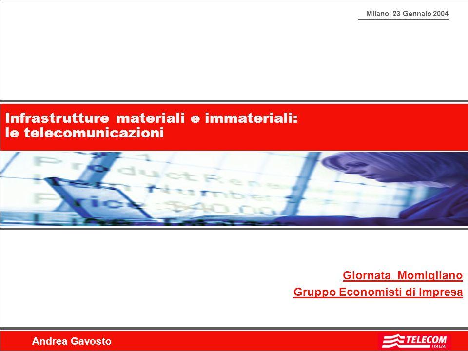 Milano, 23 Gennaio 2004 Andrea Gavosto Infrastrutture materiali e immateriali: le telecomunicazioni Giornata Momigliano Gruppo Economisti di Impresa