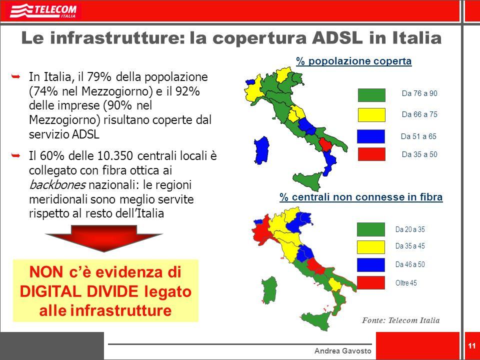 Andrea Gavosto 11 In Italia, il 79% della popolazione (74% nel Mezzogiorno) e il 92% delle imprese (90% nel Mezzogiorno) risultano coperte dal servizi