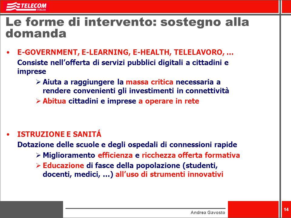 Andrea Gavosto 14 Le forme di intervento: sostegno alla domanda E-GOVERNMENT, E-LEARNING, E-HEALTH, TELELAVORO, … Consiste nellofferta di servizi pubb