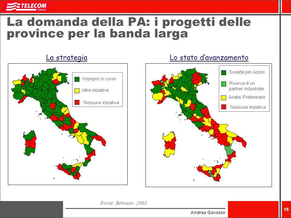 Andrea Gavosto 15 La domanda della PA: i progetti delle province per la banda larga Fonte: Between, 2003 Impegno in corso Altre iniziative Nessuna ini