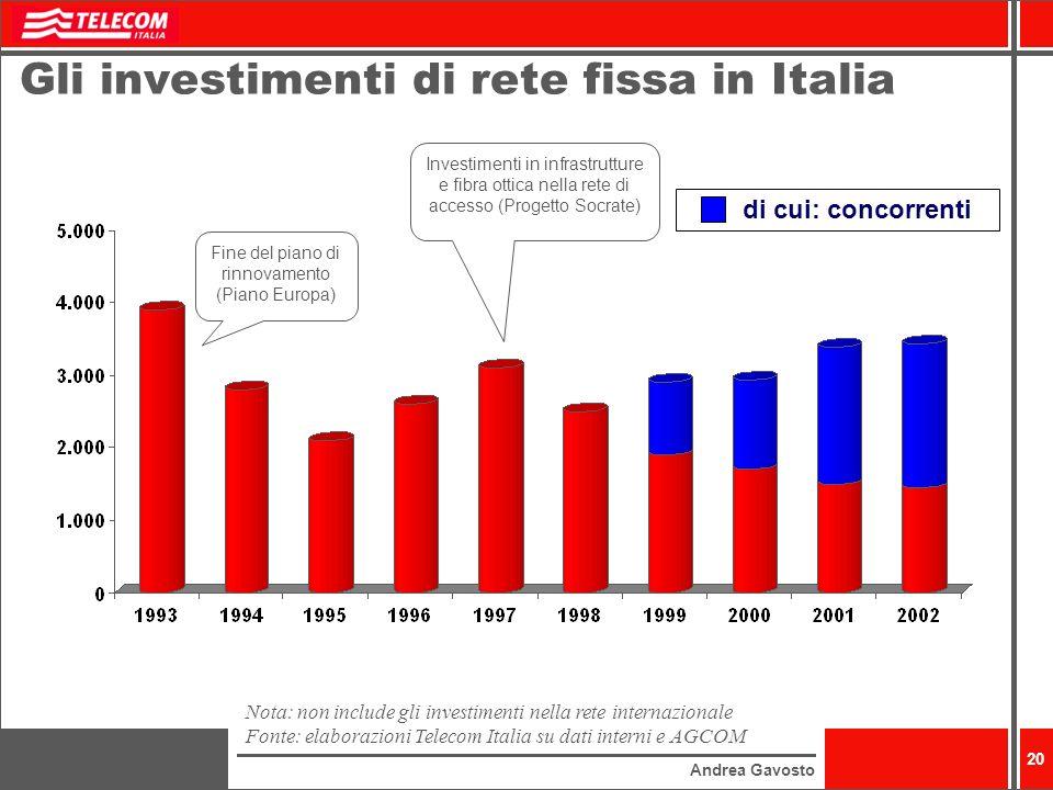 Andrea Gavosto 20 Gli investimenti di rete fissa in Italia Nota: non include gli investimenti nella rete internazionale Fonte: elaborazioni Telecom It